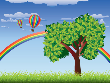 sky and grass: Green grass field with a tree, rainbow and hot air balloons in the sky. Illustration