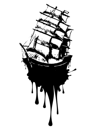 frigate: Old sail ship, frigate in the sea detailed sketch.