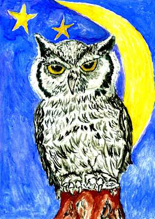eagle owl: Eagle owl and crescent moon on the night sky, watercolor illustration.