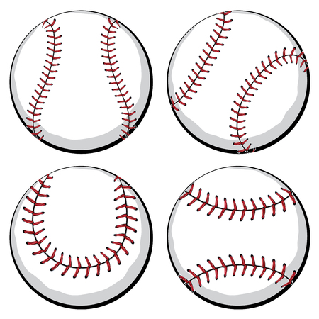 fastpitch: Softball, baseball ball in four styles, sport equipment.