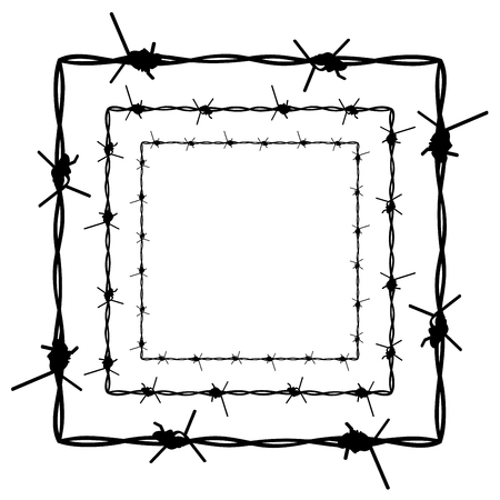 prison guard: Silhouette barbed wire illustration on white background. Illustration