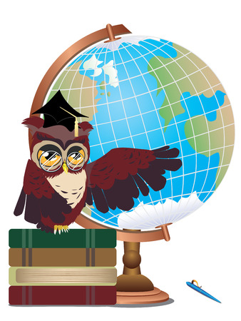 educative: Cartoon wise owl with globe and stack of books. Illustration