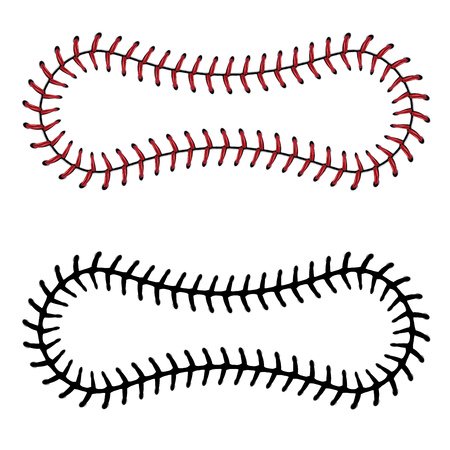 Softball, baseball red lace over white background. Illustration