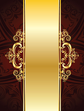 gold ornaments: Vintage red background with decorative gold ribbon and floral ornament.
