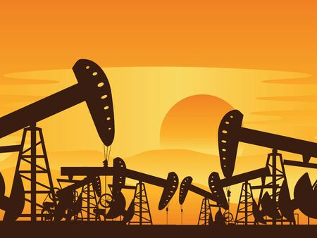 nonrenewable: Sunset background and working oil pump silhouette. Illustration