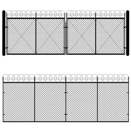 chain link: Fence and gate made of metal wire mesh on white background.