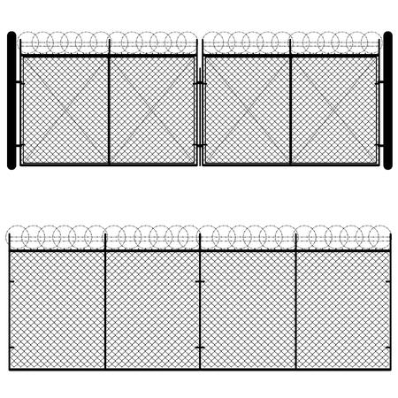 Ogrodzenia i bramy wykonane z siatki metalowej na białym tle. Ilustracje wektorowe
