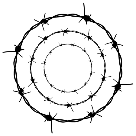 Silhouette barbed wire illustration on white background. Vettoriali