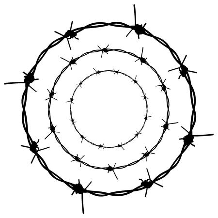Silhouette spinato illustrazione di filo su sfondo bianco. Archivio Fotografico - 57810359
