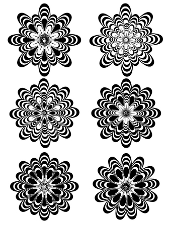 stylistic: Set of different stylistic flowers in black and white.