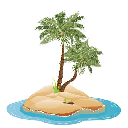 palmtrees: Tropical island with palm trees illustration and sea waves.