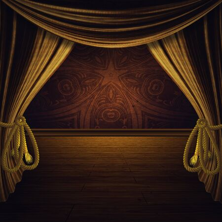 award background: Theater stage with open golden curtain and floor. Stock Photo