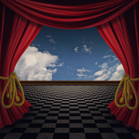 Decorative retro theater stage red curtains with floor.