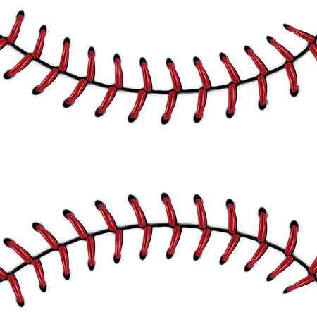 Softball, baseball red lace over white background. Vectores