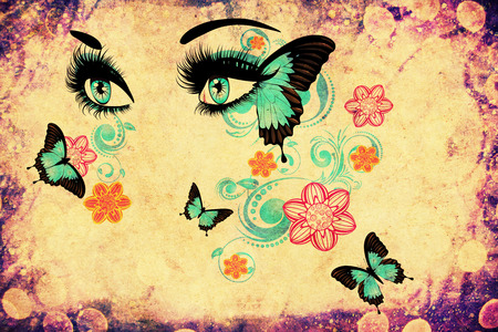 Female eyes with summer floral makeup, long eyelashes and butterflies, grunge background.