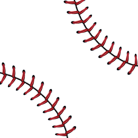 fast pitch: Softball, baseball red lace over white background. Illustration