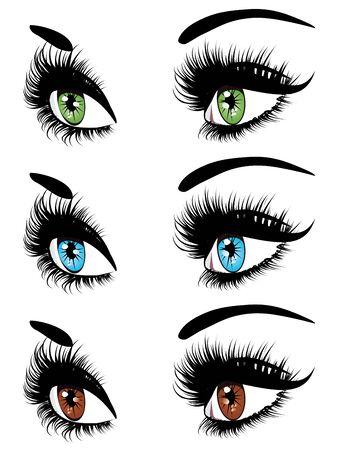 female eyes: Set of female eyes and brows with long eyelashes makeup.