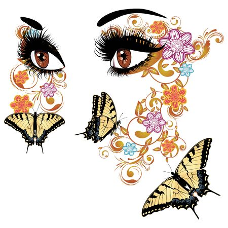 long eyelashes: Female eyes with summer floral makeup, long eyelashes and butterflies. Illustration