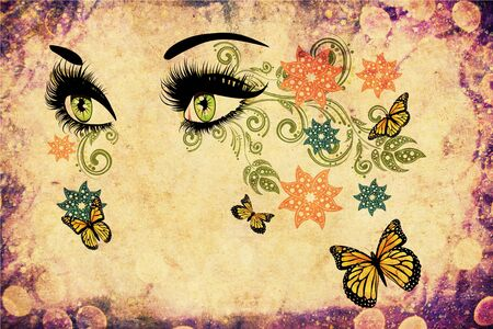 long eyelashes: Female eyes with summer floral makeup, long eyelashes and butterflies, grunge background.