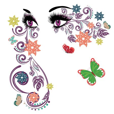 female eyes: Female eyes with summer floral makeup, long eyelashes and butterflies. Illustration