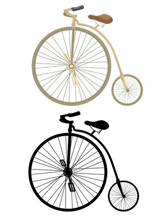 big wheel: Retro bicycle with a big wheel on a white background.