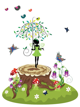 Old tree stump with mushrooms, purple flowers and fairy on green lawn.
