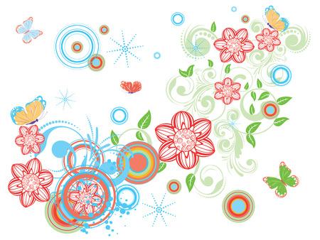 Colección de diseños florales decorativos de la vendimia con las mariposas abstractas.