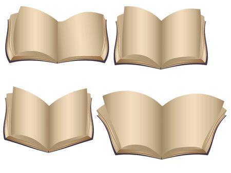 Set di vecchi libri aperti con pagine vuote.