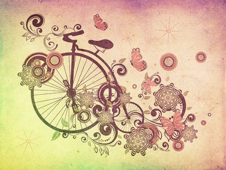 big wheel: Vintage grunge big wheel bicycle with decorative floral ornament and butterflies.