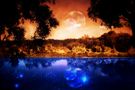 surreal landscape: Night sky over the forest and the river, surreal landscape.