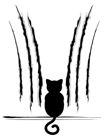 scratches: Stylized cat silhouette with claw scratches marks.