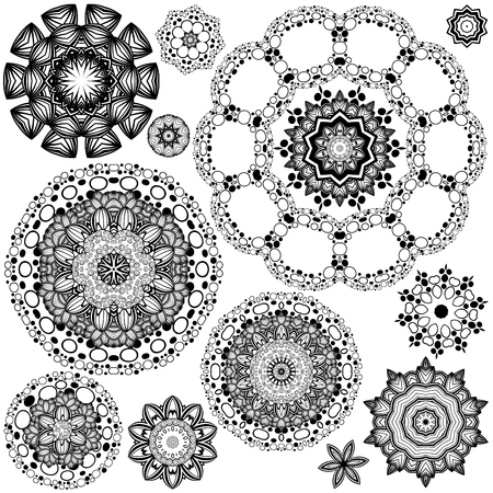 meditative: Round flower ornament in black and white