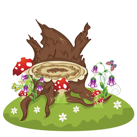 Old tree stump with mushrooms and purple flowers on green lawn. Illustration
