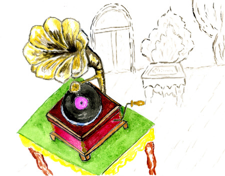 Vintage gramophone in the room, abstract colorful sketch illustration.