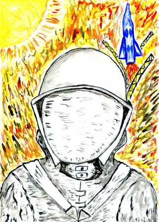 spacesuit: Watercolor astronaut in a spacesuit close up view, cartoon space.