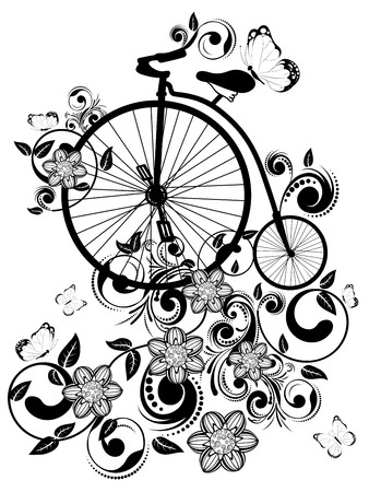big wheel: Vintage big wheel bicycle with decorative floral ornament and butterflies.