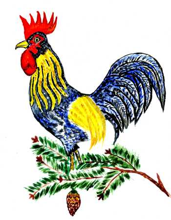 feathering: Cartoon watercolor rooster, hand drawn animalistic illustration.