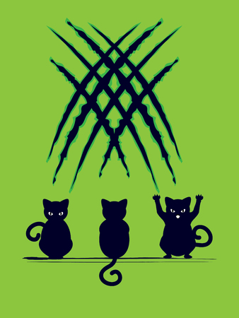 Stylized cat silhouette with claw scratches marks.