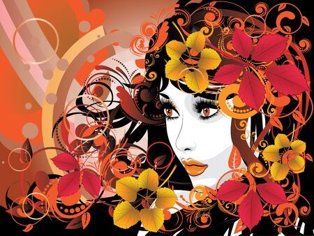 Colorful fall leaves, floral ornament and female portrait.