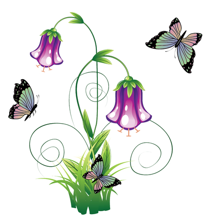 vitality: Cartoon bluebell flower with green leaves and swirls.