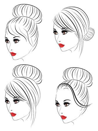 Cara femenina con maquillaje y el peinado de moda en el arte de línea.