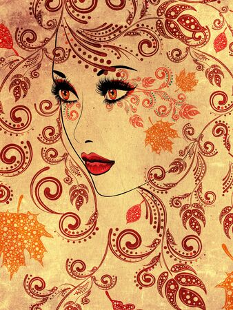 female portrait: Colorful fall leaves, floral ornament and female portrait, grunge background. Stock Photo