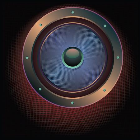 woofer: Illustration of sound loud speaker in metal frame rivets, bolts. Illustration