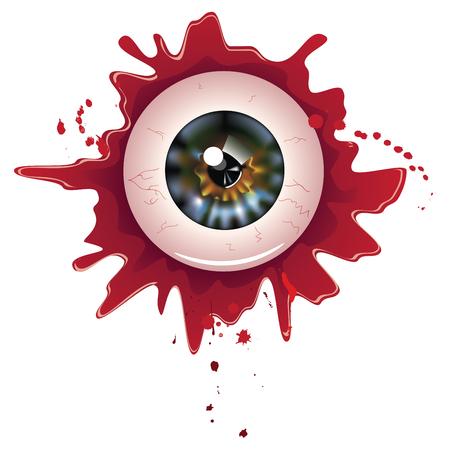 halloween eyeball: Spooky halloween eyeball with grunge blood splatter.