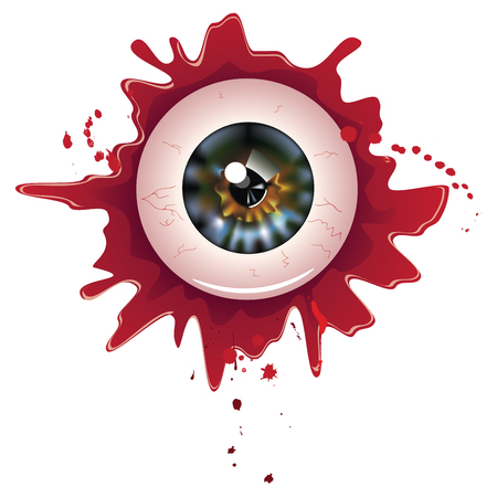 Spooky halloween eyeball with grunge blood splatter.