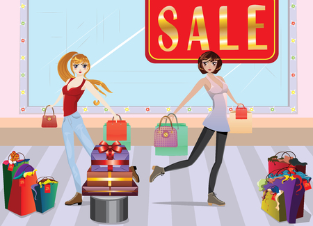teenage girl dress: Cartoon fashion girls in casual outfit with shopping bags at shopping. Illustration