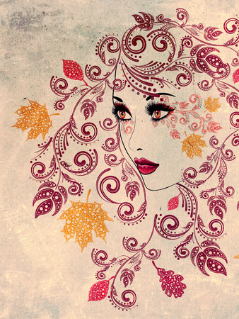 hairdos: Colorful fall leaves, floral ornament and female portrait, grunge background. Stock Photo