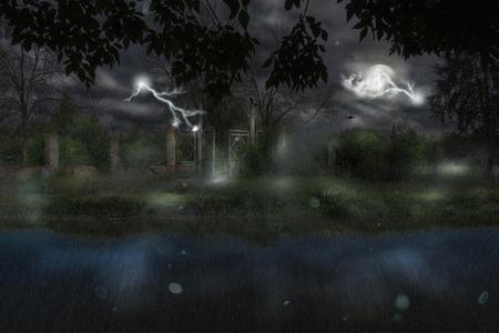 photomanipulation: Old metal gate at rainy night, photomanipulation, halloween background.