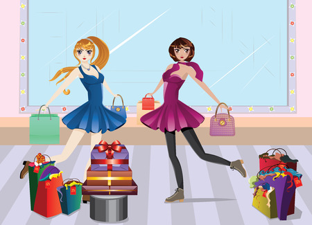 Cartoon fashion girls in casual outfit with shopping bags at shopping. Illustration