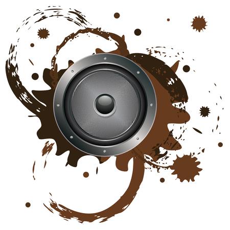 metal frame: Illustration of sound loudspeaker in metal frame with grunge paint splatters.